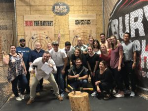 , The Garden State Home Loans Team Tries Their Hand at Axe Throwing